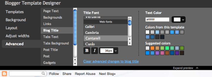 Web Fonts Blogger