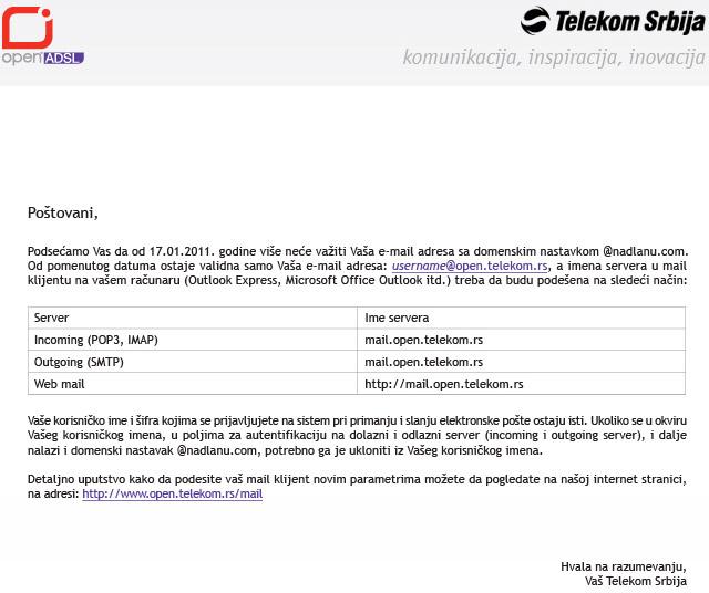 [Telekom] Ukida se E-mail @nadlanu.com - Baguje.COM