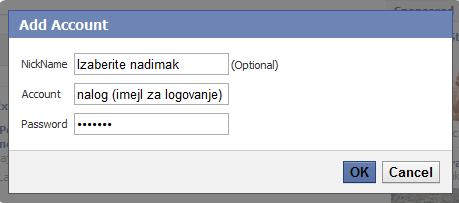 dodavanje Fejsbuk naloga