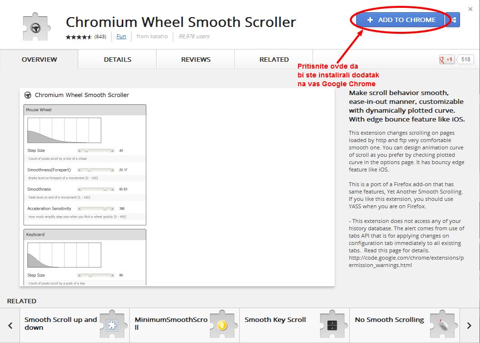 Tecno skrolovanje za Google Chrome