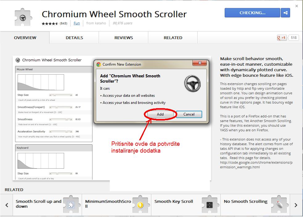 Tecno skrolovanje ya Google Chrome