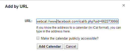 google calendar fb url