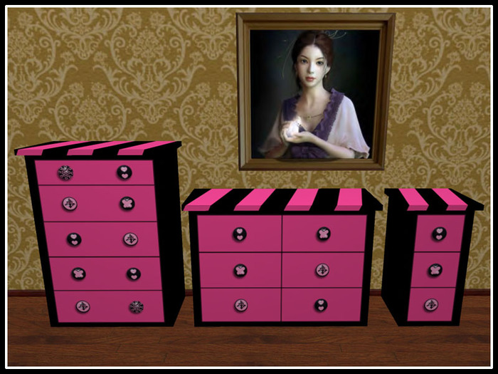 pink dresser nightstand set