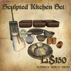 Second Life Marketplace Shade Medieval Kitchen Accessory Set