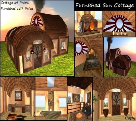 Second Life Marketplace SALE NeW Sun Cottage Furnished Home Decorated Cabin House Animated Furniture Medieval Fantasy Hobbit Cottage Fae Fantasy