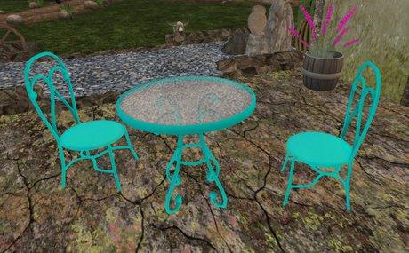 small patio table chair set aqua