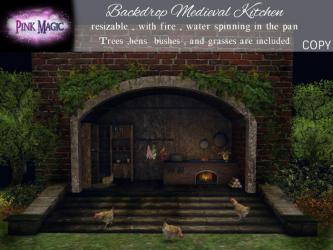 Second Life Marketplace Pink Magic : Backdrop Medieval Kitchen