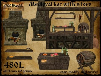 Second Life Marketplace Medieval bar for tavern with stove Old World Rustic furniture for kitchen