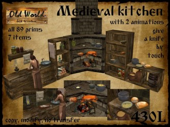 Second Life Marketplace Medieval kitchen 2 Old World Rustic foods