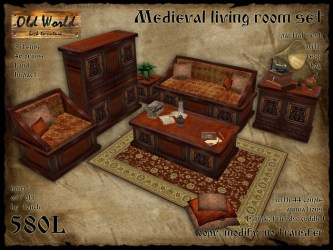 Second Life Marketplace Medieval set for living room v1 Old World Medieval / Rustic furniture