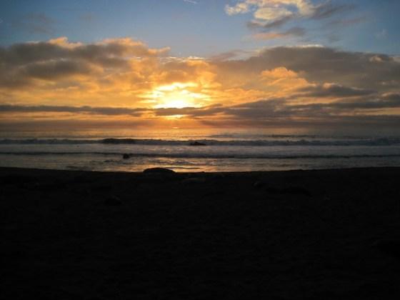 Sunset on Piedras Blancas Beach in February, 2011