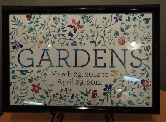 "Sign for ""Gardens"" exhibit by Monika Roe"