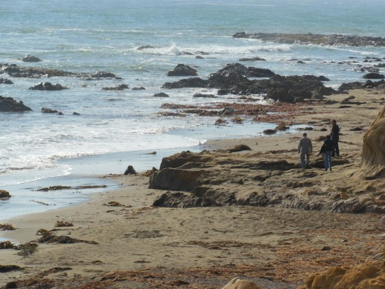 People Enjoying Moonstone Beach on August 12, 2012