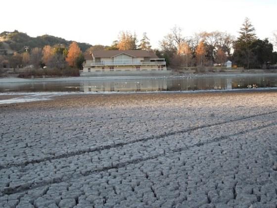 Looking Across Atascadero Lake to Pavilion December 30, 2013