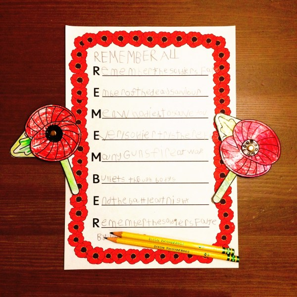 Wartime Poetry; an acrostic poem by my younger child.