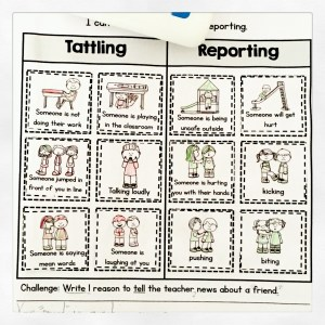 Tattles Versus Tells sorting worksheet.