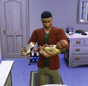 Baby Leni refuses to take a bottle from her Uncle Felix.