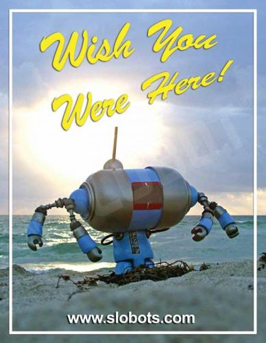 Slobot Robot Postcards on the beach