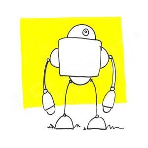 robot art print yellow robot artist mike slobot