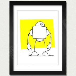 robot art print yellow robot artist mike slobot framed