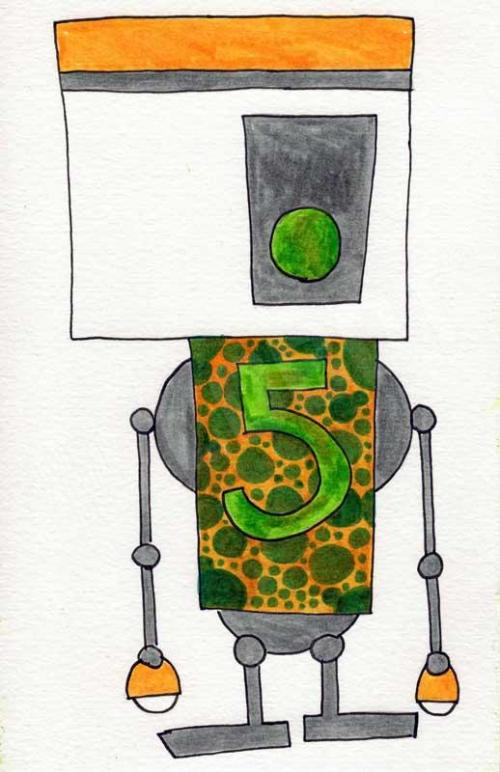 mike slobot robot 5 art print unframed illustration