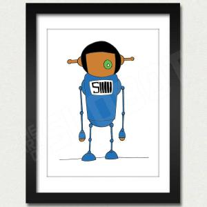 mike slobot willy wonka oompa loompa deep roy blue slonkabot framed