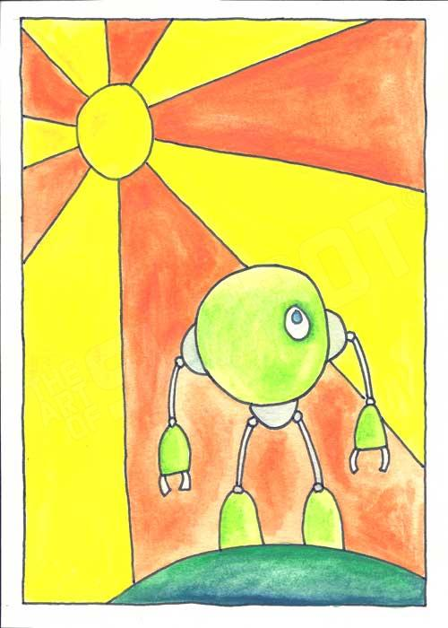 Mike Slobot Little Green Robot Print unframed robot art