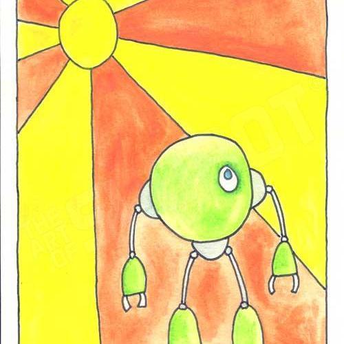 Mike Slobot Little Green Robot Print unframed robot art