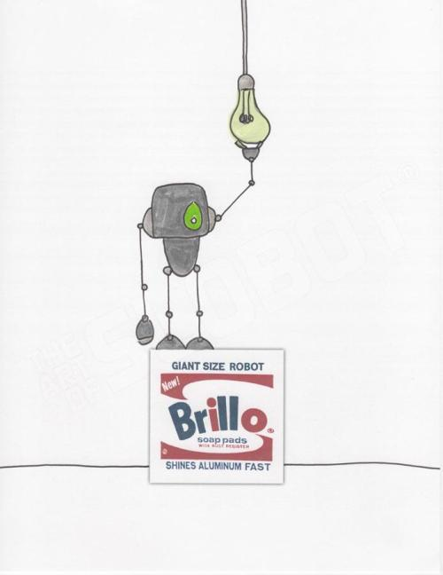 slobot Wahrol Brillo Light Bulb BrilloBot pop robot art print