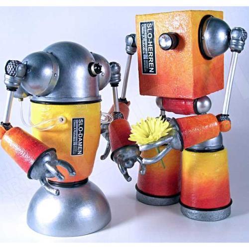 Mike Slobot Robot Love Art with a Flower framed