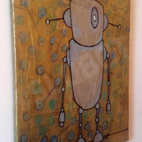 Robot Art painting with gold and glow in the dark detail 2