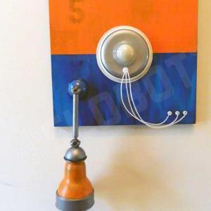 Mike Slobot Robot Painting Number 5 in Orange, Blue, and Violet