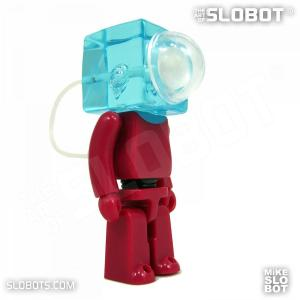 Mike Slobot slomikro Maroon and Clear Blue small robot art front right