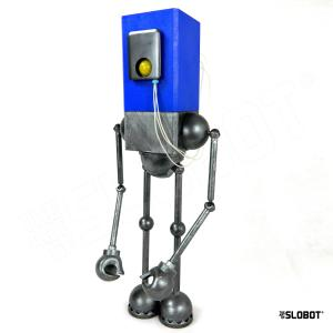 Mr. Blue is a space age retro blue and silver robot sculpture by Mike Slobot