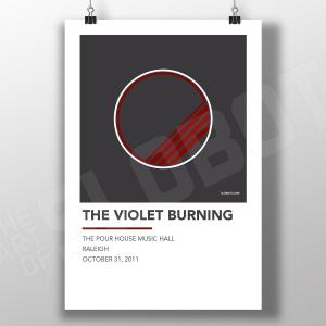 Mike Slobot Music inspired Alternative Gig Poster for The Violet Burning Live Raleigh 2011