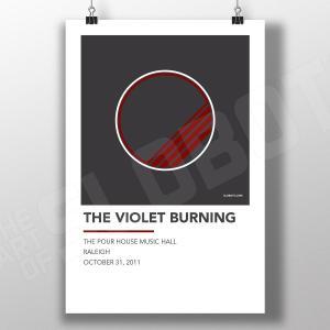 Mike Slobot Music inspired Alternative Gig Poster for The Violet Burning Live Raleigh 2011