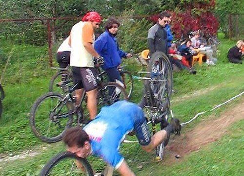 Mountain bike crash with face