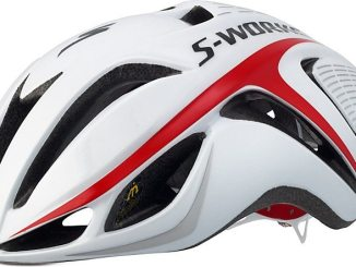 The Specialized S-Works Evade aero helmet in red and white