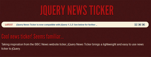 jQuery News Ticker