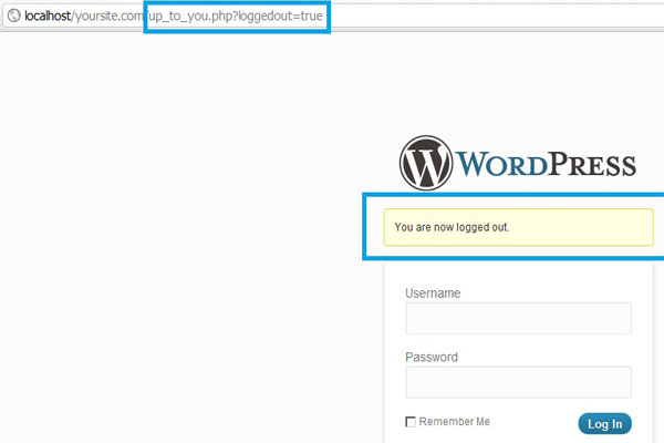 WordPress logged out