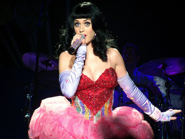 "Katy Perry in the Swarovski-studded dress she wore on her ""California Dreams"" tour"