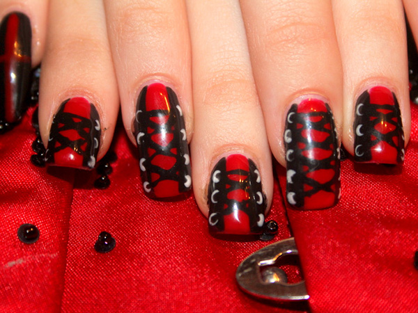 20 Geous Red And Black Nails Designs