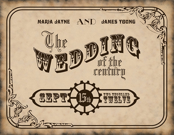 Vector Vintage Wedding Invitation Card Design Template