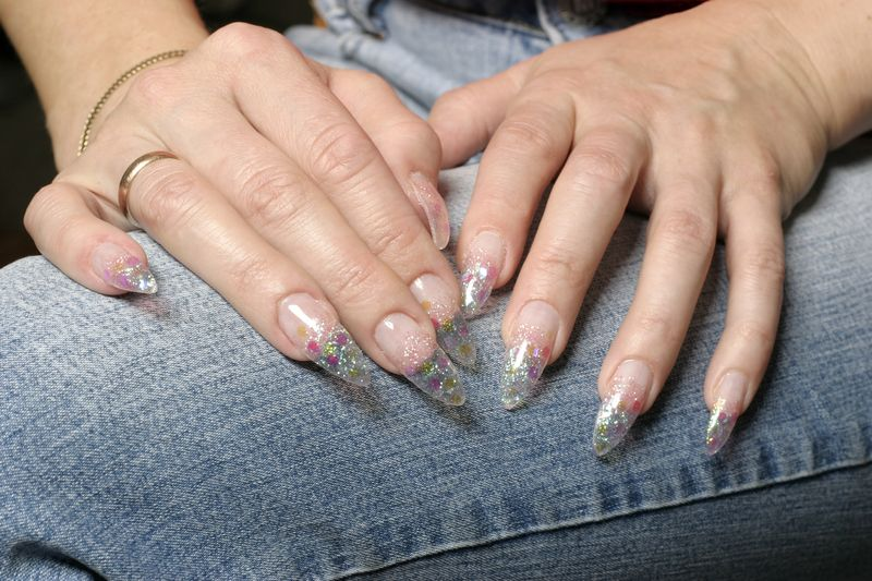 Clear Nails With Glitter Pointy
