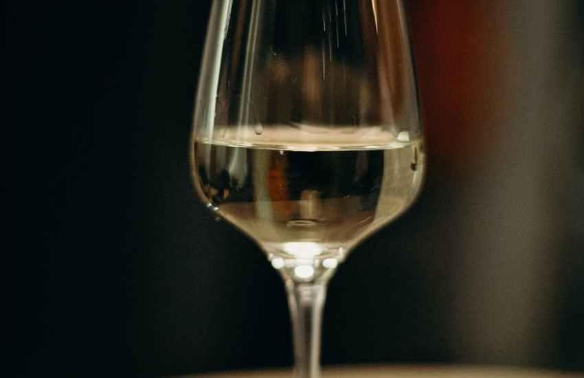 half filled wine glass