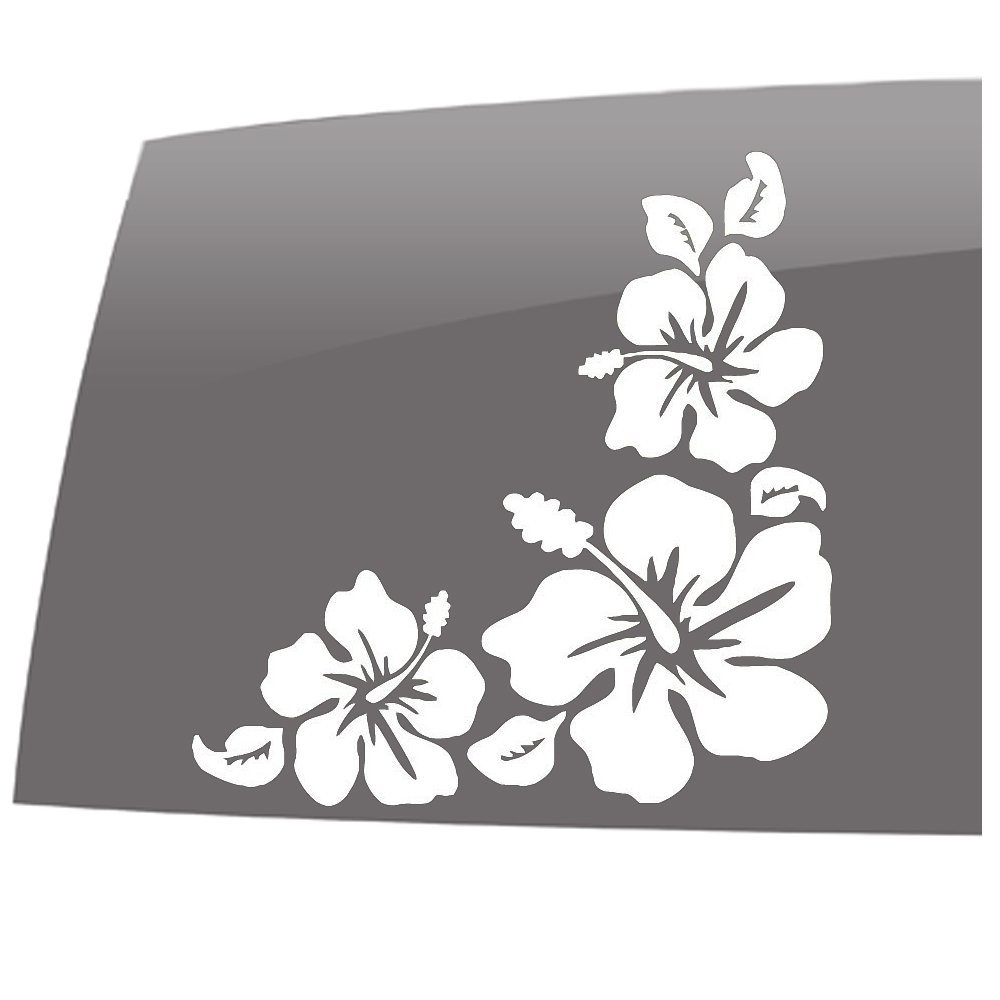 Hibiscus flower corner sticker hawaiian car truck notebook home flowers izmirmasajfo