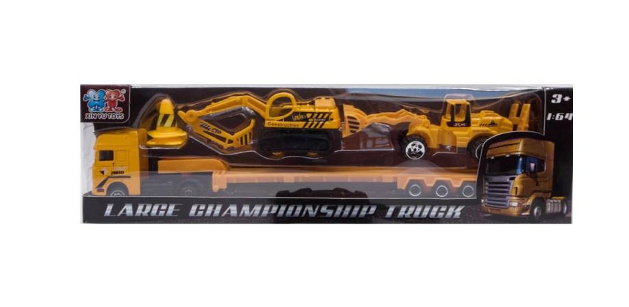 Metalni kamion sa prikolicom, radnim strojevima i dodacima u skali 1:64