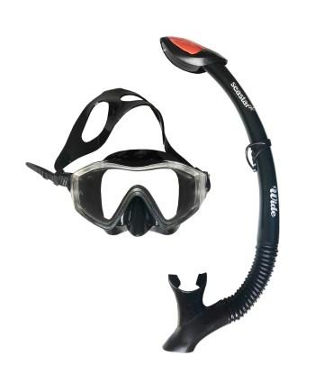 Silikonski komplet maska i disalica za ronjenje, Wide Senior. Kvalitetan set maske i disalice za ronjenje i promatranje morskog dna sav u crnoj boji.