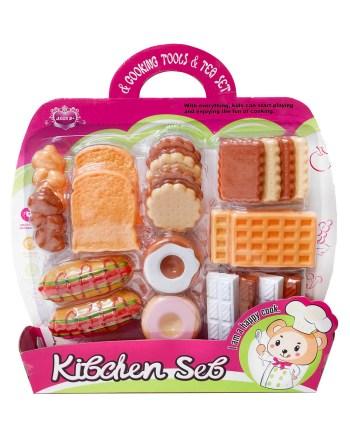 Kuhinjski set za djevojčice sa keksima ili sa tortom i dodacima savršen je za igru kuhara ili kuharice, pakiran na blisteru sa pregršt dodataka.