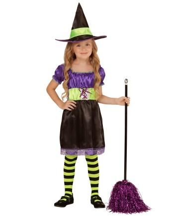 KOSTIM Vještica Saten je kostim namijenjen djeci od 5 do 7 godina. Savršen je za lude partije, proslave Halloweena ili karnevalske povorke.